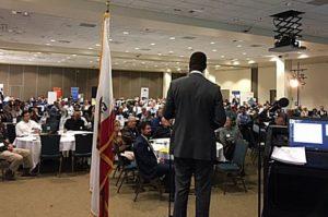 Sanford Coggins at a conference